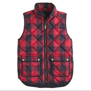 J.Crew Red Check Excursion Quilted Puffer Vest